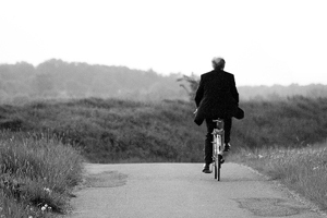 Businessman on bike